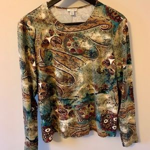 2/$18 VINTAGE / Abstract print / Long sleeve / Top